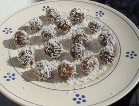 Raw Truffles Covered in Shredded Coconut
